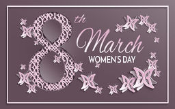Women`s day greeting card with paper cut ornament. Vector illustration of International women`s day, 8 March holiday greeting card with floral and butterfly Stock Photo