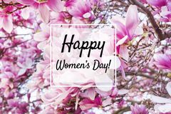 Happy Women`s Day Greeting Card with Flowers Background. Women`s day greeting card with pink magnolia tree background stock photos