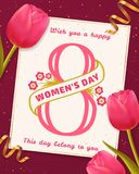 Women`s Day greeting card with pink tulips. Royalty Free Stock Photography
