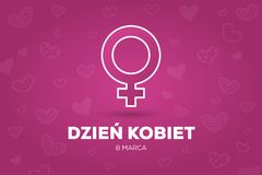 Women`s Day greeting card in Polish. Women`s Day greeting card and words `Women`s Day - 8 March` in Polish Vector Illustration