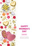 Women`s day greeting card poster of gold heart, gift box decoration with chocolate candy background for 8 March. Women`s day greeting card poster of gold heart Royalty Free Stock Images