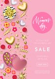 Women`s day greeting card poster of gold heart, gift box decoration with chocolate candy pink background for 8 March. Women`s day greeting card poster of gold stock illustration