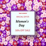 Women`s Day greeting card with square frame and paper cut flowers background. Vector illustration. Place for your text royalty free illustration