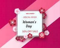 Women`s Day greeting card with square frame and paper cut flowers on colorful modern background. Vector illustration. Place for your text stock illustration