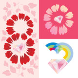 Women`s day greeting card template. 8 march, set elements Stock Images