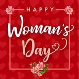 Happy Womens day rose flower and hearts red banner. Women`s Day greeting card template with typography text happy womens day on pink hearts background. Vector Royalty Free Stock Photo