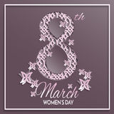 Women`s day greeting card. Vector illustration of International women`s day, 8 March holiday greeting card with floral and butterfly pattern design and brown Stock Photos