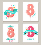 Women's day greeting cards set Stock Photo