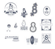 Women s Day icons2. Logos dedicated to International Women's Day royalty free illustration