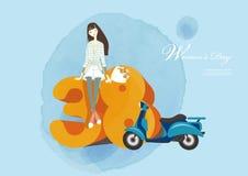 Women`s day illustration design. Women`s day illustration poster design stock illustration