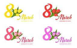 Women`s Day 8 march with a bouquet of tulips vector illustration. Congratulation stock illustration