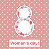 Women`s day  8 march card with flowers and leaves on a pink background. Vector illustration Royalty Free Stock Photos