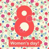 Women`s day 8 march card with flowers and leaves. Vector illustration Royalty Free Stock Images