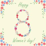Women`s day 8 march card with flowers and leaves. Vector illustration Royalty Free Stock Photos