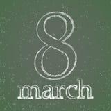 Women`s Day. March 8 chalk on blackboard. Women`s Day.  March 8 chalk on blackboard Royalty Free Stock Images