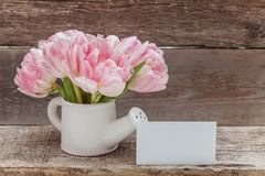 Women's Day March eight greeting card. Women's Day March eight. Pink tulip flowers bouquet in small toy watering can vase and greeting card on a wooden royalty free stock photos