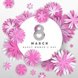 Women`s day 8 march vector paper cut illustration. Women`s day 8 march romantic vector paper cut illustration Royalty Free Stock Photo
