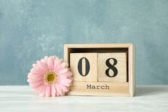 Women`s day March 8 with wooden block calendar. Happy mothers day royalty free stock photos