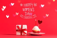 Women`s Day message with cupcake and heart Stock Photo