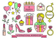 Women`s Day multicolored icons set. 8 March. Happy Womens Day symbol collection. Vector illustration Royalty Free Illustration