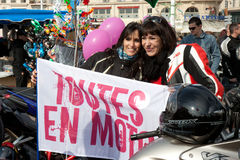 Women's Day: nice bikers. Marseille, France: March 6th, 2011. Motorcycle rally for the Women's Day in the Vieux-Port, Marseille,FR royalty free stock photos
