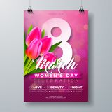 Women`s Day Party Flyer Illustration with Tulip Flower Bouquet and 8 March Typography Letter on Pink Background. 8 March. Female Holiday Design for Celebration Stock Photo