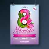Women`s Day Party Flyer Illustration with Tulip Flower Bouquet and 8 March Typography Letter on Pink Background. 8 March. Female Holiday Design for Celebration Stock Image