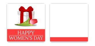 Women`s Day Party Invitations and Greeting Cards with Gift Box and Tulip. Gift Box with Red Bow. Front Side and Backside. Vector. Women`s Day Party Invitations vector illustration