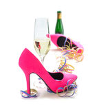 Women's day party, ladies pink high heels shoes, streamers, cham Royalty Free Stock Photos