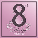 Women`s day pink greeting card. Vector illustration of International women`s day, 8 March holiday greeting card with paper cuted floral and butterfly pattern Stock Photos