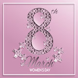 Women`s day pink pattern greeting card. Vector illustration of International women`s day, 8 March holiday pink greeting card with floral and butterfly pattern Stock Photography