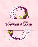 Women`s Day postcard greeting vector. Illustrations Stock Photo
