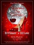 Women`s day poster for party with shoes, lipstick and glass of wine. Vector vector illustration