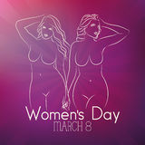 Women's day. A purple background with text and a pair of women royalty free illustration