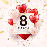 Women s day red background with balloons, heart shape.Confetti and ribbon. Love symbol. March 8. I love you. Spring. Holiday royalty free illustration