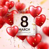 Women s day red background with balloons, heart shape.Confetti and ribbon. Love symbol. March 8. I love you. Spring. Holiday vector illustration