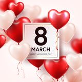 Women s day red background with balloons, heart shape. Love symbol. March 8. I love you. Spring holiday. Women s day red background with balloons, heart shape vector illustration