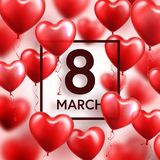 Women s day red background with balloons, heart shape. Love symbol. March 8. I love you. Spring holiday. Women s day red background with balloons, heart shape royalty free illustration