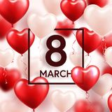 Women s day red background with balloons, heart shape. Love symbol. March 8. I love you. Spring holiday. Women s day red background with balloons, heart shape stock illustration