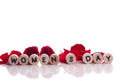 Women`s day - text on a white background royalty free stock photos