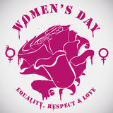 Women's Day with Rose, Symbol and Message in Stencil Style, Vector Illustration stock images