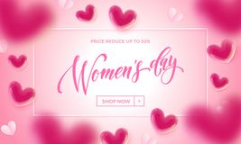 Women`s day sale banner with ballon heart background. Vector 8 March sale poster for mother`s day sale. International women`s day discount offer pink Royalty Free Stock Photo