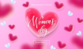 Women`s day sale banner with ballon heart background. Vector 8 March sale poster for mother`s day sale. International women`s day discount offer pink Stock Images