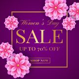 Women`s Day sale banner. Women`s Day sale banner with pink flowers. Flyer template for discounts on 8th of March. Vector illustration Stock Photos