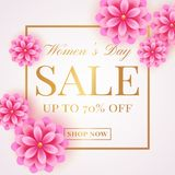 Women`s Day sale banner with pink flowers. Women`s Day sale banner with pink flowers on white background. Flyer template for discounts on 8th of March. Vector Stock Photos