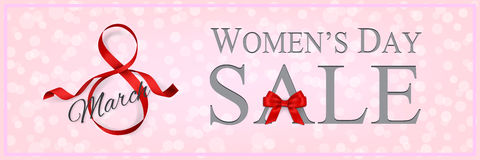 Women`s Day sale banner template with red ribbon and bow. Vector illustration. Vector Women`s Day sale banner template with red ribbon and bow royalty free illustration