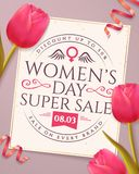 Women`s Day sale banner with tulips. Women`s Day sale banner with typography emblem and pink tulips. Flyer template for discounts on March 8. Vector Royalty Free Stock Photography
