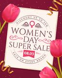 Women`s Day sale banner with tulips. Women`s Day sale banner with typography emblem and pink tulips. Flyer template for discounts on March 8. Vector Royalty Free Stock Photos