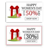 Women`s Day Sale Banners with Gift Box and Tulip. Gift Box with Red Bow. Voucher, flyers, invitation, posters. Vector. stock illustration