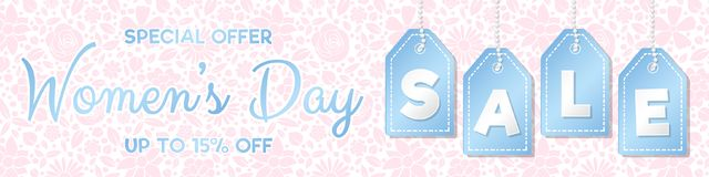 Women`s Day Sale - glossy panoramic banner with floral pattern. stock photography